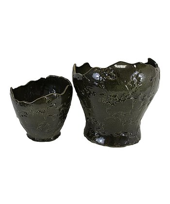 Green Ceramic Blossom Planter Set