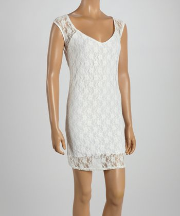 White Lace Scoop Neck Dress