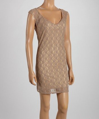 Taupe Lace Scoop Neck Dress