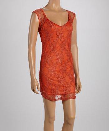 Rust Lace Scoop Neck Dress