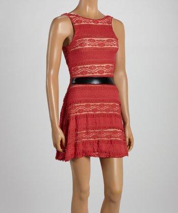 Coral Lace Drop-Waist Dress