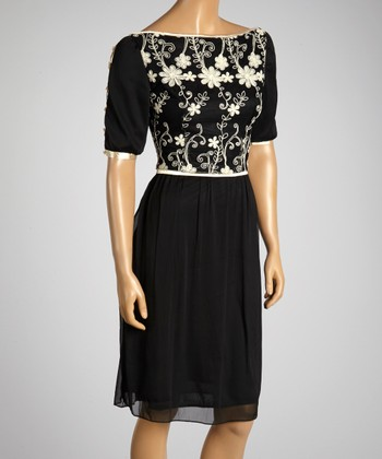 Young Essence Black & White Embroidered Floral Dress