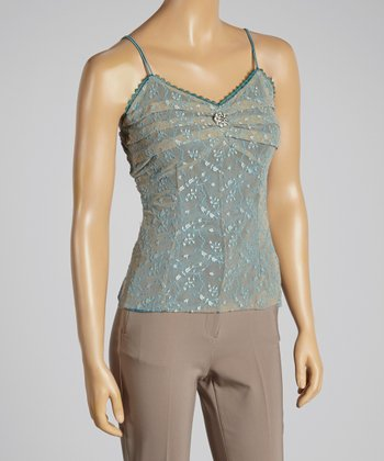 Young Essence Blue Embroidered Ruffle Camisole