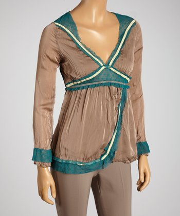 Young Essence Taupe Crinkle V-Neck Top