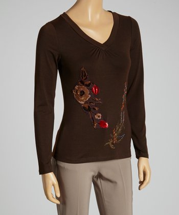 Young Essence Brown Embroidered Floral V-Neck Top
