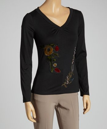 Young Essence Black Embroidered Floral Top