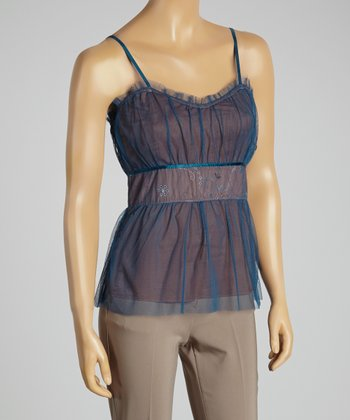 Young Essence Teal Pleated Camisole