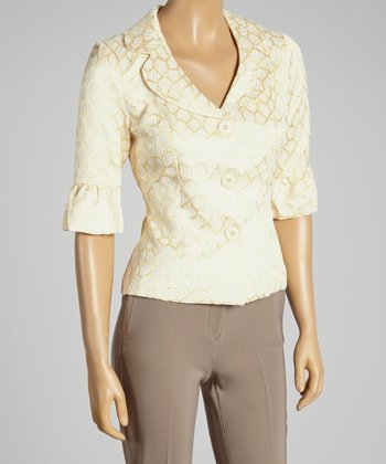 Young Essence Beige Embroidered Ruffle Cropped Blazer