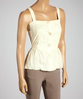Young Essence Beige Button-Up Top