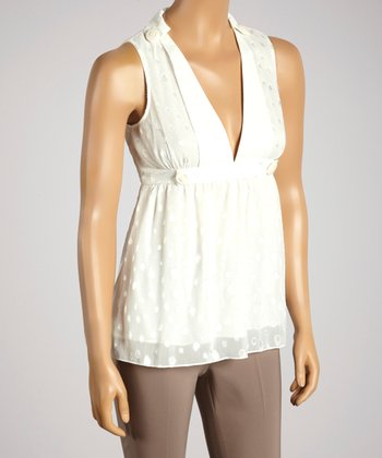 Young Essence White Dot V-Neck Top