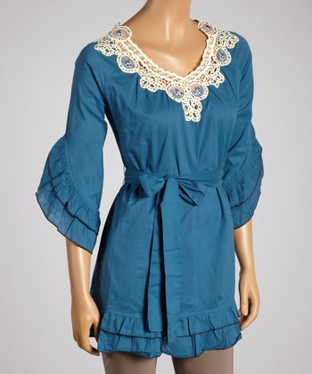 Young Essence Blue Lace Ruffle Top