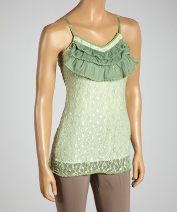 Young Essence Green Embroidered Ruffle Camisole