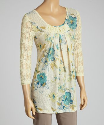 Young Essence Blue Floral Lace Top