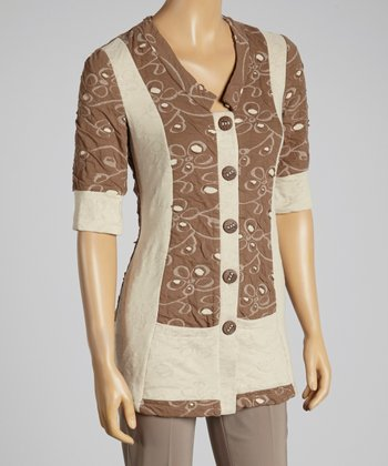 Young Essence Brown Floral Button-Up Top