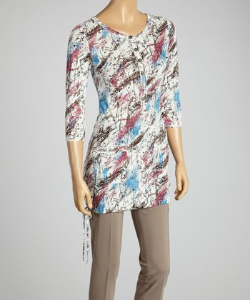 Young Essence White Abstract Henley