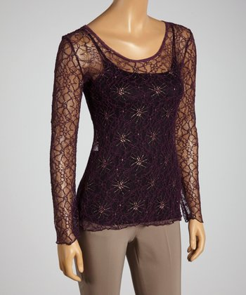 Young Essence Plum Lace Top