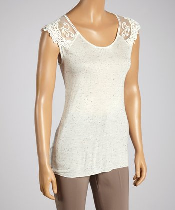 Young Essence Cream Lace Cap-Sleeve Top