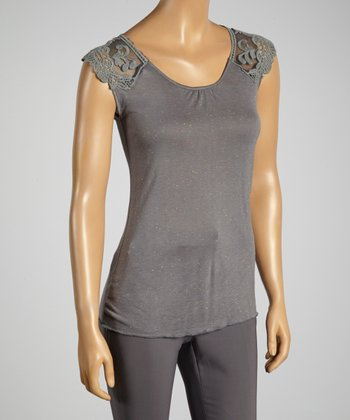 Young Essence Gray Lace Cap-Sleeve Top