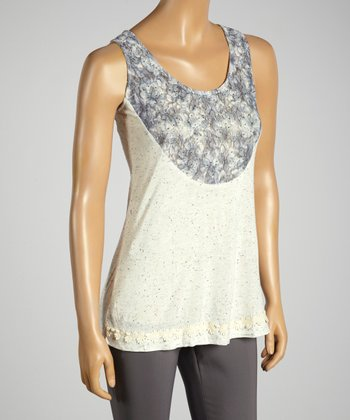 Young Essence Cream Dot Lace Tank