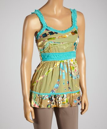 Young Essence Turquoise Abstract Ruffle Tank