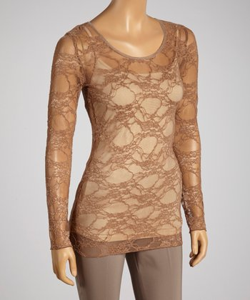Young Essence Taupe Lace Top