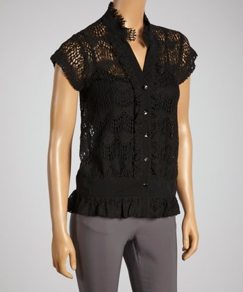 Young Essence Black Lace Button-Up Top