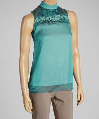 Young Essence Green Ruffle Layered Top