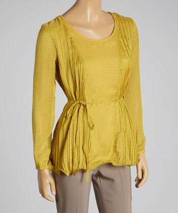 Young Essence Mustard Gingham Blouson Top