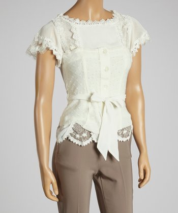 Young Essence White Lace Layered Button-Up Top
