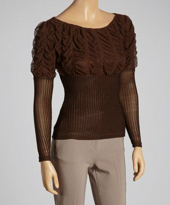Young Essence Brown Ruched Top