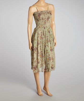 Young Essence Purple Floral Shirred Dress
