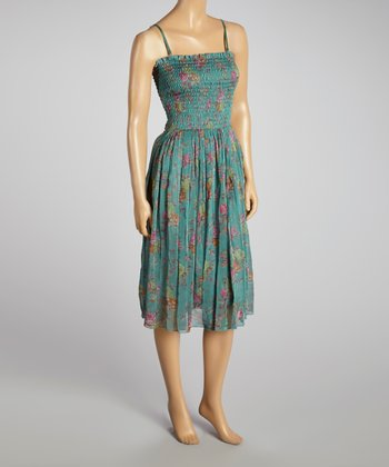 Young Essence Green Floral Shirred Dress