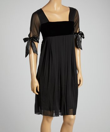 Young Essence Black Pleated Empire-Waist Dress