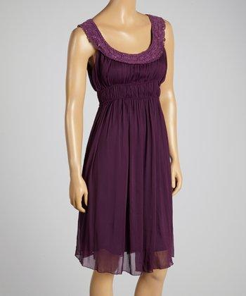 Young Essence Purple Sequin Crochet Dress