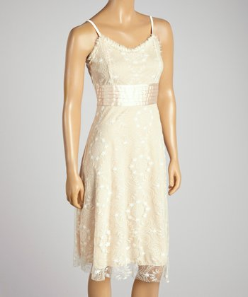 Young Essence Beige Pintuck Lace Dress