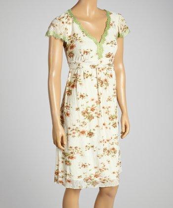 Young Essence Green Floral V-Neck Dress