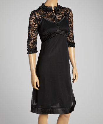 Young Essence Black Lace Button-Up Dress