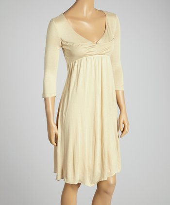 Young Essence Beige Drape Surplice Dress