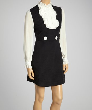 Young Essence Black & White Ruffle Button-Up Dress