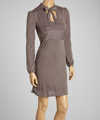Young Essence Taupe Shimmer Tie-Neck Dress