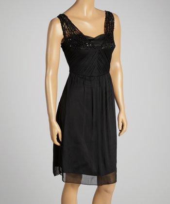 Young Essence Black Sequin Lace Blouson Dress