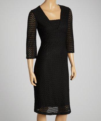 Young Essence Black Crochet V-Neck Dress