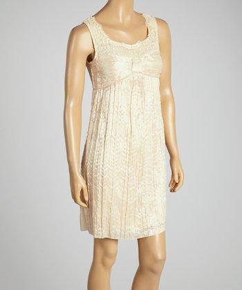 Young Essence Beige Lace Gathered Dress