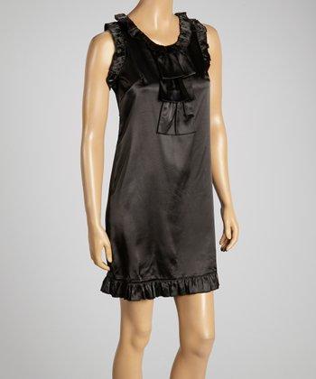 Young Essence Black Ruffle Shift Dress