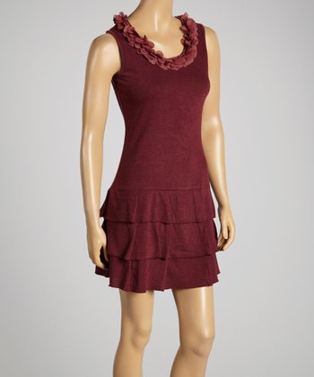 Young Essence Rust Applique Ruffle Dress