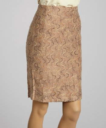 Young Essence Taupe Embroidered Wave Pencil Skirt