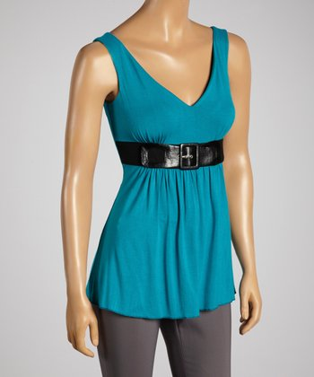 Young Essence Blue Buckle Top
