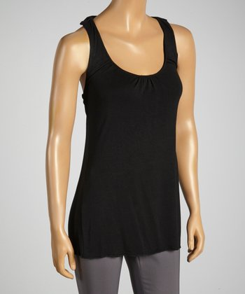 Young Essence Black Ruffle-Back Top