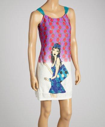 Young Essence Purple Dot & Girl Dress