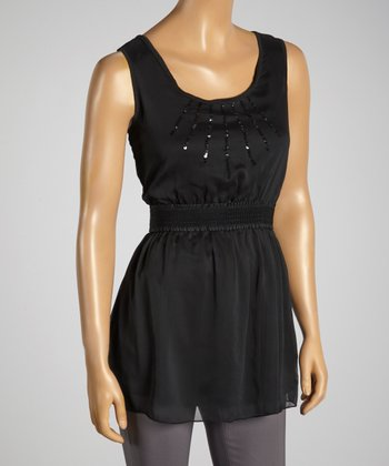 Young Essence Black Sequin Top